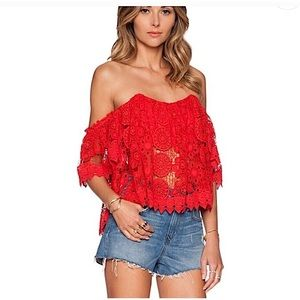 TULAROSA | Crochet Lace Amelia Crop Top in Cayenne